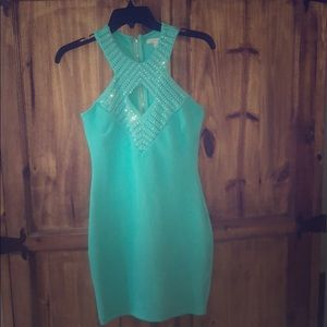 Teal rhinestone short dress 👗